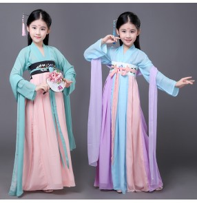 Girls Chinese National Dance Costume Child Fairy Han Folk Dance Clothing Kids Fan Dance Clothes Umbrella Dance Wear Yangko Stage Cosplay costumes dresses