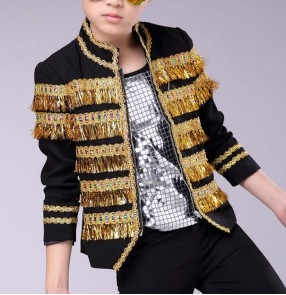 Black red with gold fringes fashion modern street dance school drummer model show jazz hiphop performance competition coats jackets