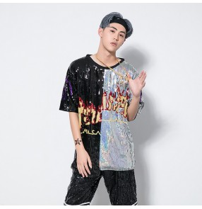 Black silver sequined patchwork fashion men's women's competition performance hiphop jazz steet dance costumes t shirts tops
