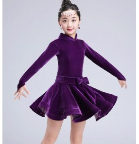 Red fuchsia violet black royal blue turquoise velvet long sleeves turtle neck girls children competition performance ballroom latin dance dresses
