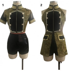 Gold black sequined patchwork fashion women's girls lead dancers cheerleaders singers performance competition dance costumes outfits