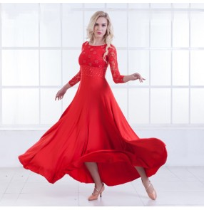 Red lace long sleeves rhinestones competition women's ballroom waltz tango competition dance long dresses costumes