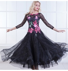 Fuchsia rose flowers printed lace patchwork see through back long sleeves women's competition performance ballroom dacing long dresses