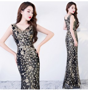 Evening Dress Long Sparkle Black with gold sequined New V-Neck Women female Elegant Sequin Mermaid Maxi Evening Party Gown Dress