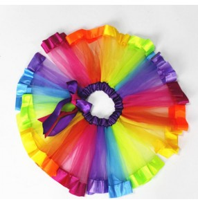 Rainbow colored girl's kids children toddlers performance competition tutu ballet dance skirts