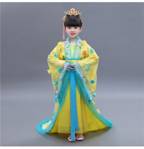 Yellow blue girls kids children stage performance girl's kids children Chinese folk ancient traditional classical fairy cosplay dance kimono dresses costumes
