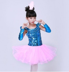Turquoise pink fuchsia green sequined glitter modern dance girl's children jazz dance singers dancers party performance princess dresses