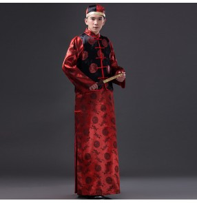 Black and red Men's Folk Costume Robe Vest Male Tang Suit Chinese Traditional Costume Red Groom Clothes Chinese Movie cosplay Costumes