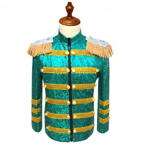 Green sequined paillette long sleeves men's men's stage host chorus performance night club jazz singers dj ds lead dancers coats blazers