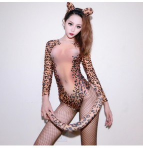 Leopard printed long sleeves stones sexy women's female night club party bar jazz singers tiger cosplay jazz dance leotards bodysuits jumpsuits