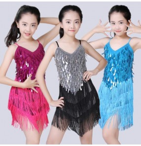 White silver gold blue red fuchsia Modern Girl Latin Dance Dress For Girls Cha Cha Dress Dancing Dress Girl Competition Dancewear Kids Kid Dance Costumes