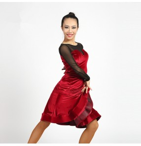 Wine red leopard black mesh velvet patchwork fashion women's stage performance ballroom rumba salsa cha cha latin dance dresses