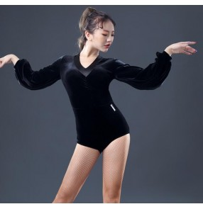 Black velvet puff bishop sleeves v neck competition stage performance professional women's female latin ballroom dance tops leotards bodysuits