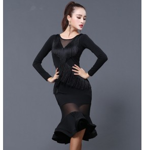 Black fringes mesh patchwork long sleeves fashion women's female competition stage performance ballroom latin salsa cha cha dance dresses