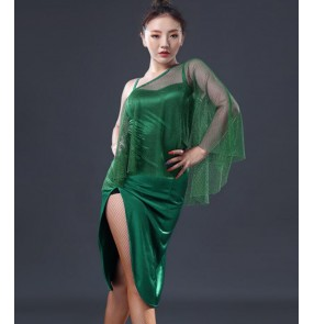 Green inclined shoulder sexy fashion women's competition stage performance professional ballroom latin salsa cha cha dance dresses