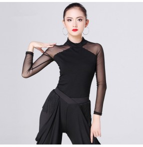 Black long sleeves tulle see through shoulder fashion women's girls performance competition ballroom chacha rumba dance tops blouses