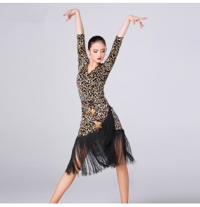 Leopard printed velvet half sleeves fashion sexy women's competition professional fringes latin cha cha rumba salsa dance dresses