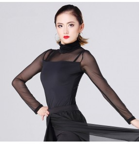 Black turtle neck long sleeves tulle long sleeves women's female competition gymnastics ballroom chacha latin dance tops blouses
