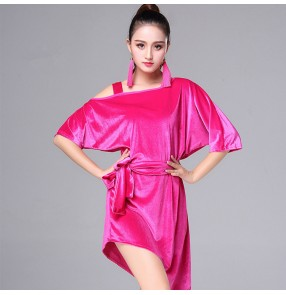 Royal blue red fuchsia hot pink irregular hem loose velvet  batwing girl's female women's salsa cha cha rumba latin dance dresses