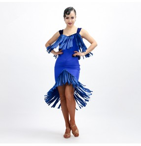 Royal blue red black velvet fringes modal v neck fashion women's girl's sleeveless stage performance competition latin salsa dance dresses
