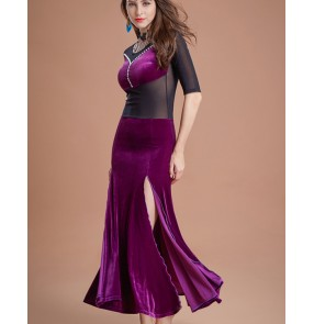 Black wine red purple velvet tulle waistline fashion women's female competition stage performance belly dance dresses costumes(no waistband)