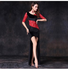 Black red velvet lace patchwork half sleeves fashion women's girl's performance competition belly dance dresses costumes