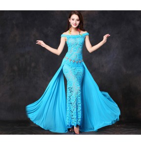 Turquoise blue fuchsia hot pink black lace patchwork fashion women's girl's competition performance belly sexy dance dresses