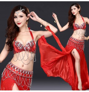Red beads sexy fashion professional competition women's female Indian belly queen dance dresses costumes
