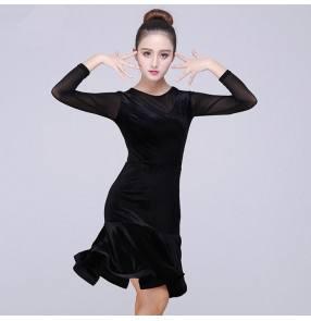 Black velvet tulle patchwork sexy fashion women's female long sleeves salsa cha cha latin dance dresses dancewear