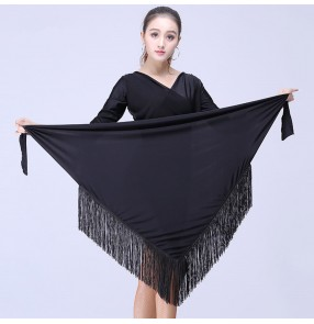 Black triangle fringes fashion women's female practice gymnastics competition performance latin dance dresses hip scarf wrap skirts costumes