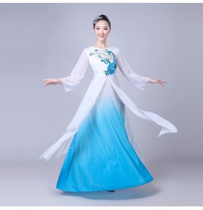 Fuchsia hot pink turquoise women's female fairy drama anime cosplay traditional classical Chinese Folk ancient yangko fan dancing dresses costumes