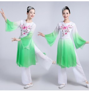 Turquoise fuchsia hot pink green gradient colored Chinese ancient fairy stage performance traditional classical folk yangko fan dance costumes dresses
