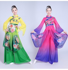 Fuchsia purple green gradient colored women's female classical Chinese traditional ancient folk yangko fan dancing dresses party square dancing costumes