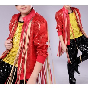 Red sequined glitter boys kids children jazz singers dancers drummer hip hop competition performance dance tops jackets coats