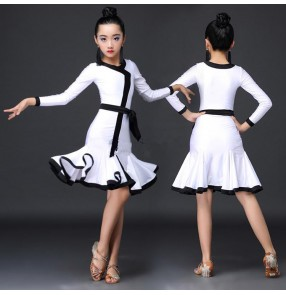 White and black trimed long sleeves stretchy fashion girl's kids children stage performance competition ballroom latin dance dresses
