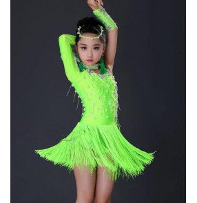 Red neon green rhinestones beads one shoulder fringes girls children kids competition stage performance latin salsa cha cha dance dresses