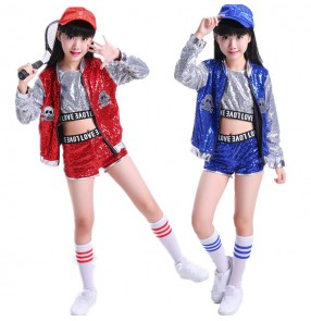 Royal blue red sequined girl's kids children paillette fashion modern dj ds singers drummer performance school competition cheer leader dance costumes