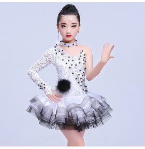 White red lace one shoulder sleeves fashion girl's competition children diamonds professional ballroom latin salsa dance dresses costumes