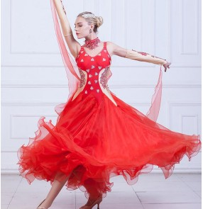 Red white black rhinestones with gloves women's female competition professional tango waltz ballroom dancing dresses