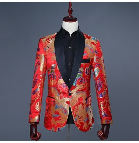 Red china style dragon pattern men's male singers host competition stage performance magician jazz groomsman dancing blazers coats jackets