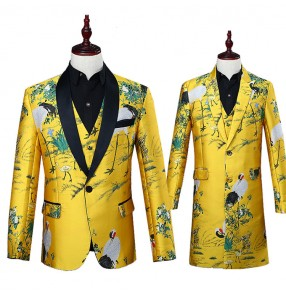 Gold birds flowers pattern china style yellow men's male singers dance party stage performance dancers host groomsman blazers coats
