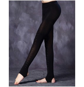 Black flesh beige colored stones women's girl's female competition professional latin salsa rumba cha cha dance leggings pants