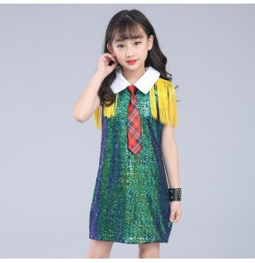 Cheer leading dresses green red girl's school competition performance singers dancers jazz hiphop drummer dancing dresses