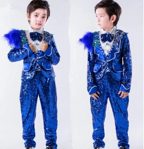 Royal blue jazz dance boy's kids children sequined stage performance host flower boys piano dancing singers dancing outfits