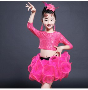 Black latin dresses girl's kids children stage performance lace modern dance competition salsa cha cha dance dresses costumes