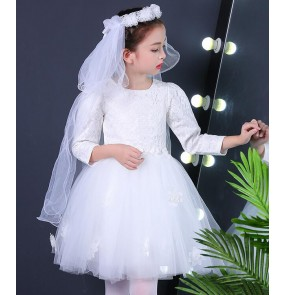 White red modern dance girl's kids children stage performance ballet jazz singers princess solo flower girls dancing dresses costumes outfits