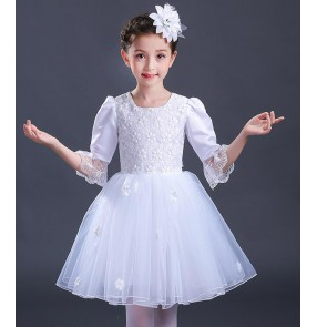 Red turquoise yellow white modern dance dresses girl's kids children stage performance competition jazz singers ballet flower girls dancing dresses