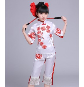 girls folk dance dresses White with red children kids stage performance Chinese yangko fan dancing traditional cosplay competition dancing dresses