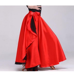 Red flamenco dance skirts girl's kids children school competition ballroom stage performance classical Spanish bull dance long skirts costumes