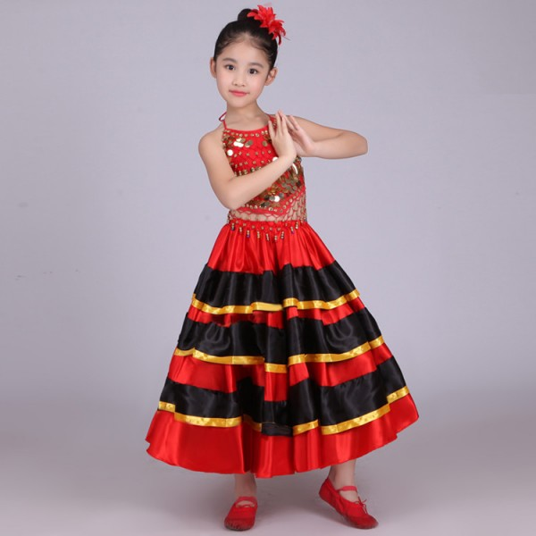 Spanish Flamenco Costume Girlred Style Ballroom Skirt Girls Child Black